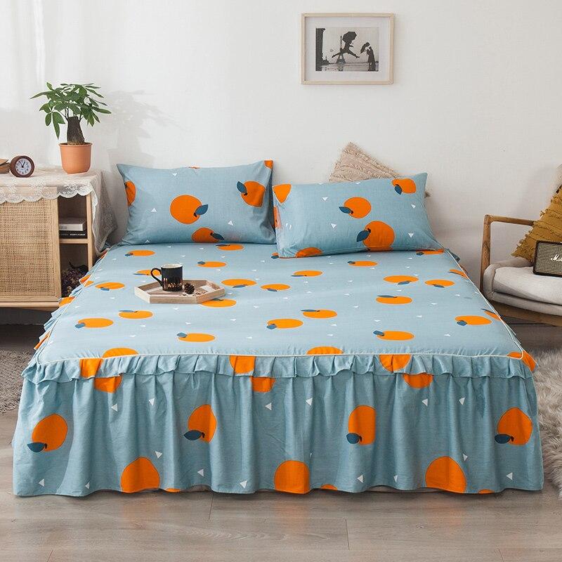 المفرش الملونة القطن الشمال لينة نمط الشمال غطاء السرير التنانير مرتبة حجم كوين Falda دي كاما ديكور المنزل DK50BS