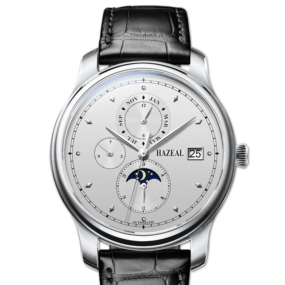 mens watches,wrist watch men HAZEAL man luxury brand automatic wristwatch waterproof mechanical reloj dress montre leather strap
