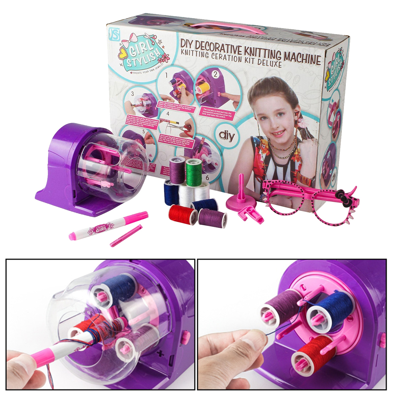 needle sewing tools diy kids knitting machine kit weaving loom for scarf hat sweater kids children pretend play toys knitting to Electric Sewing Knitting Machine Hairband Jewelry Bracelet Thread Rope DIY Knitting Weaving Twist Loom Maker