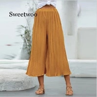 women autumn casual pants high waist wide leg pants beach pleated sexy winter trousers female dot printed capris pants