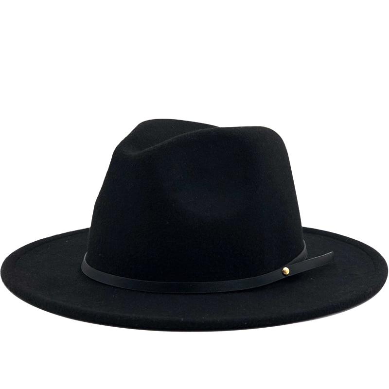 Simple Women Men Wool Vintage Gangster Trilby Felt Fedora Hat With Wide Brim Gentleman Elegant Lady
