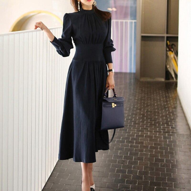 2020 printemps solide a-ligne robe femmes grande taille bleu marine pleine manches bouffantes col montant décontracté bureau robe élégante travail robes