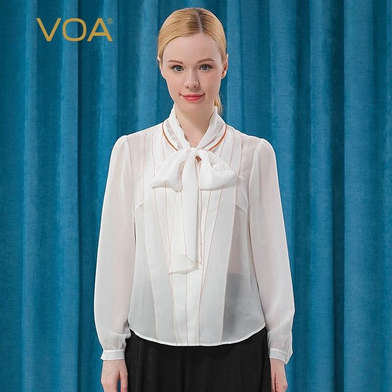 Voa12mm seda georgette arco fita colar branco puro manga longa par de seda laranja aparado camisa da senhora be317