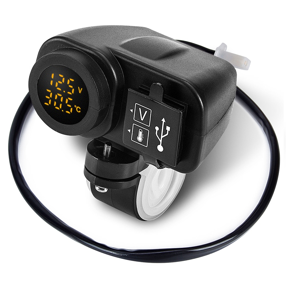 2021 Motorcycle Dual USB Charger 12V 4.2A Moto 2.1A+2.1A 12V To 5V 15W USB Charger With LED Display Sockets ON-OFF Toggle Switch