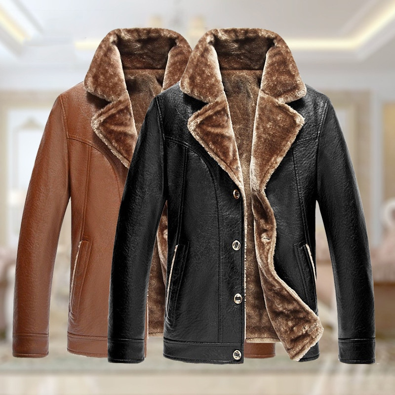Ymwmhu Mens Leather Jackets 2021 Winter New Casual Button PU Jacket Solid Leather Coats Windbreaker Genuine Leather Jacket