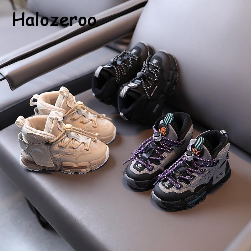 Winter Kids Sport Sneakers Baby Girls Warm Running Shoes Children High Top Chunky Sneakers Boys Bran