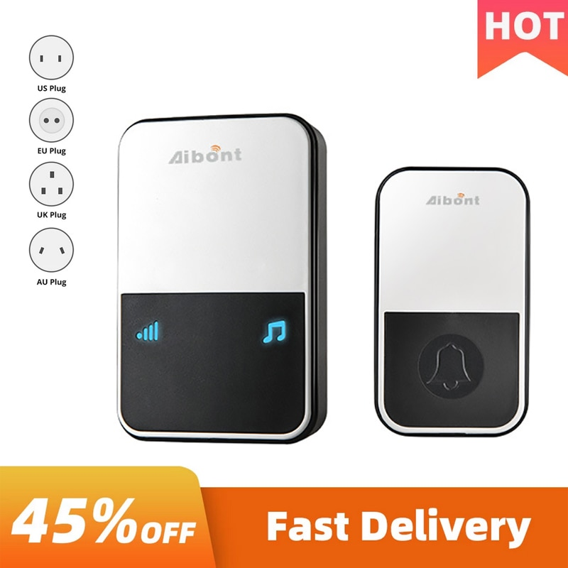 Wireless Doorbell Pager Smart Loud Chime Electronic Battery Household Convenient Operation Long-Dist