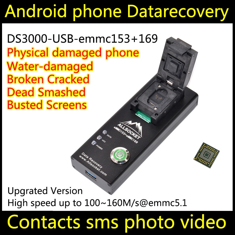 EMMC socket eMMC169 153 socket USB3.0, con 5 limitadores de tamaño, adaptador de programación de prueba de memoria flash nand., BGA169 BGA153 PES309