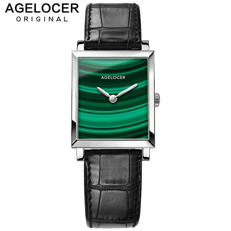Women's Watch AGELOCER Top Brand Luxury Watch Women Waterproof Malachite Black Leather Belt Square Quartz Watches Clock Gift+Box