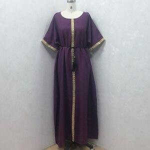 Spring Autumn Short Sleeve African Dresses For Women Diamonds Vintage Femme Robe Loose Straight Dress 2021 Muslim Fashion Abaya