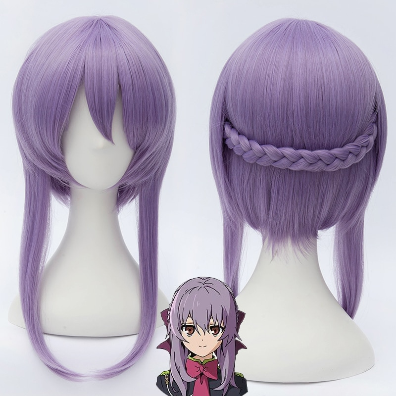 Seraph of the end Hiiragi Shinoa Wigs Light Purple Heat Resistant Synthetic Hair Perucas Cosplay Wig