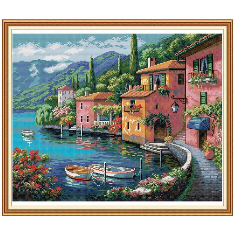 Casa colorida pela água contada 11ct 14ct ponto cruz conjunto diy dmc kit ponto cruz chinês bordado needlework decoração de casa