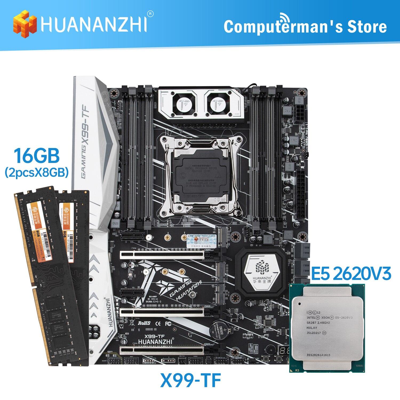 HUANANZHI X99 TF X99 اللوحة كومبو كيت وحدة المعالجة المركزية إنتل زيون E5 2620 V3 الذاكرة 2*8G DDR4 NON-ECC 2400 الذاكرة M.2 NVME USB ATX