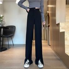 Black Suit Pants Women's Summer 2021 New High Waist Slimming Straight Pants Korean Style Loose Droop