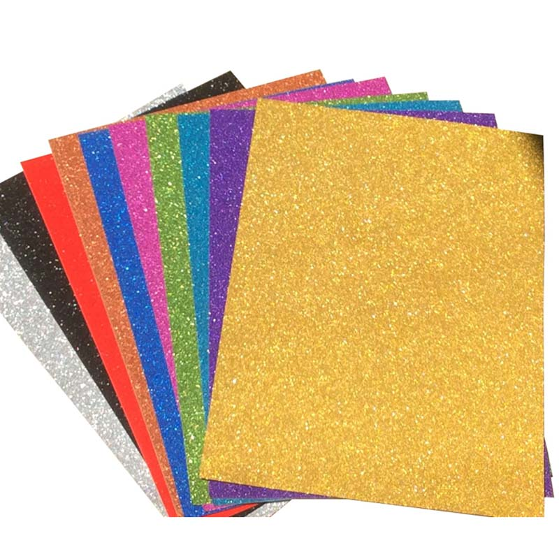 10pcs A4 Sheets Mixed Colours Glitter Cardstock Card Making DIY Material Sparkling Craftwork Scrapbooking Gift Wrapping Box Tiss