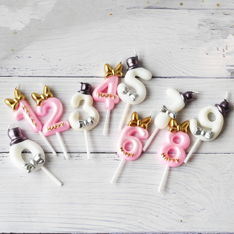 Hermoso Número de cumpleaños vela princesa/Príncipe 0-9 Número decorativo velas para tarta Cupcake Topper suministros de fiesta decoración de pasteles