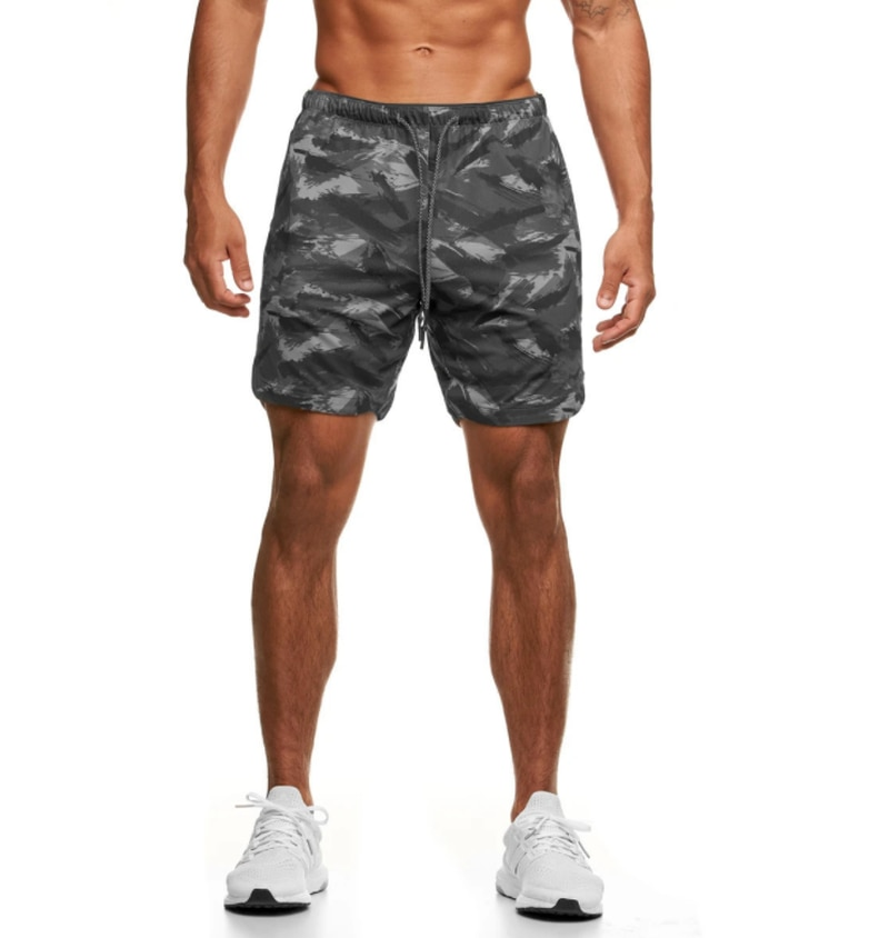 Men Shorts Summer Camouflage Sweatpants Quick-drying Sports Casual Short Pants Elastic Waist with Po