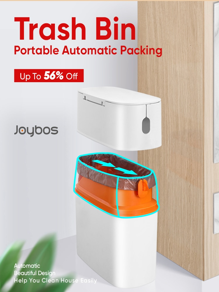 aliexpress.com - Joybos waterproof garbage bucket trash can with lid portable automatic packing living room bathroom kitchen trash storage box