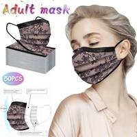 50pc Adult Fashion Lace Disposable Three Layer Breathable Face Mask Lace Mascaras Personalizadas Flowers Mascarillasdetela