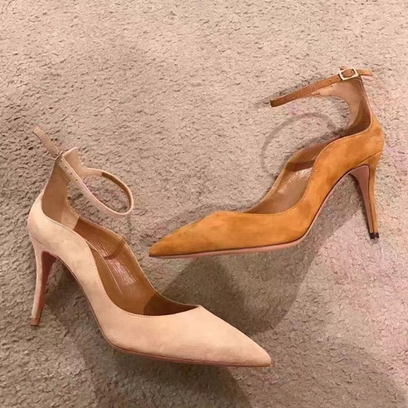 2021 Spring Women's Pumps Sexy Pointed Thin Heels High Heeled Single Shoes Woman Elegant Office Ol Lady Shoe Buckle Strap Sandal