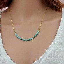 20 pouces Simple brin pierre naturelle perlé oeil de tigre collier à chaîne courte pour les femmes