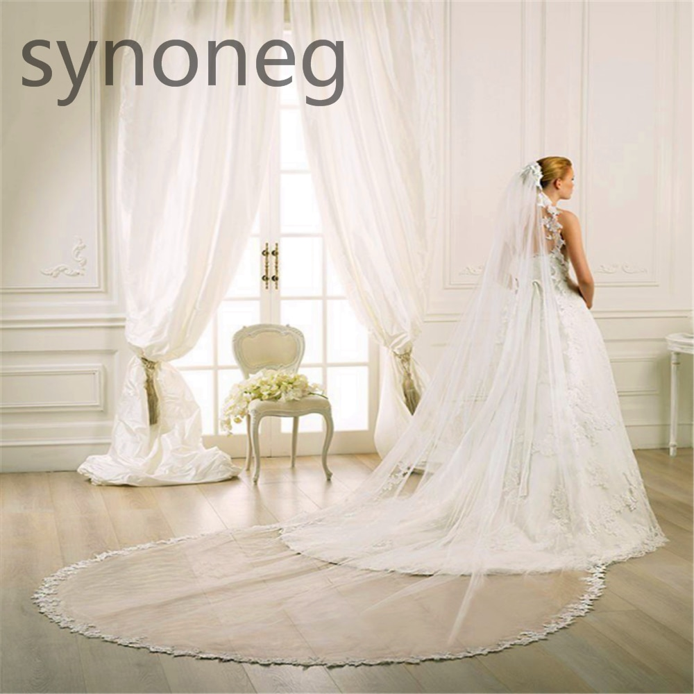 Velo de novia de encaje blanco Borde de novia gran oferta 300CM Catedral velo de novia a medida marfil tul accesorios de boda para novia