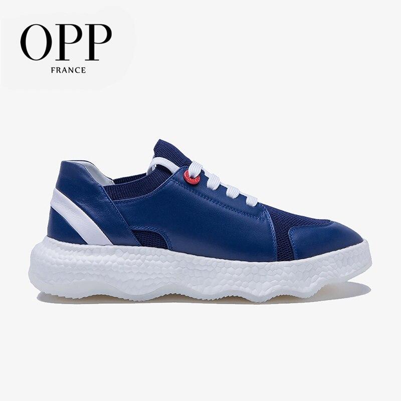 OPP-أحذية مسطحة من جلد البقر للرجال ، أحذية رياضية برباط من الجلد الطبيعي ، أحذية رياضية غير رسمية
