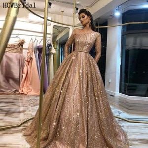 Rose Golden Glitter Long Sleeves Evening Dress Saudi Arabic One Shoulder Ball Gown Special Occasion Dress Customize Abendkleider