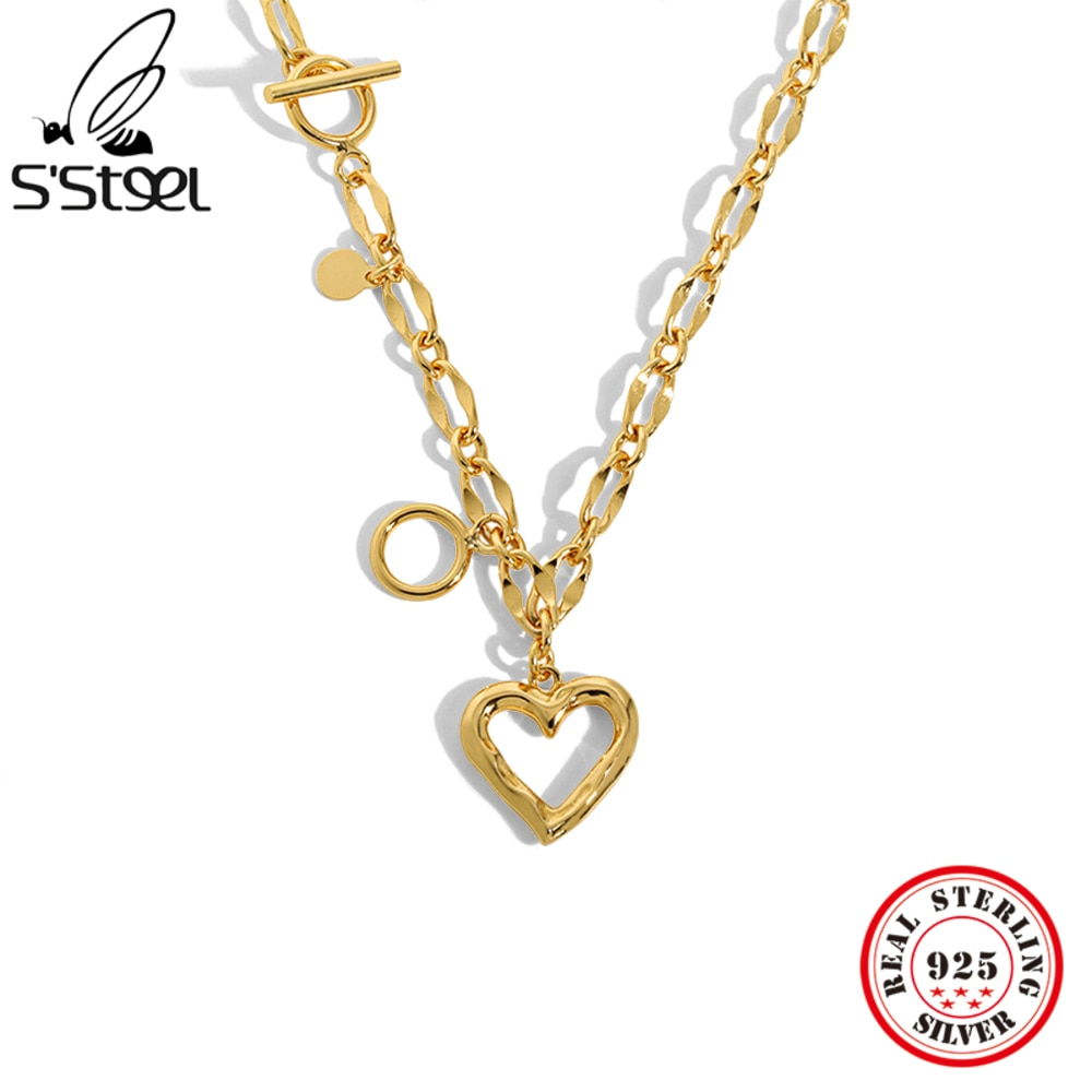 S'STEEL стерлингового серебра 925 кулон и ожерелье, будет отличным подарком для женщин! Минималистский дизайн, цепочка с крупными серебристыми в...