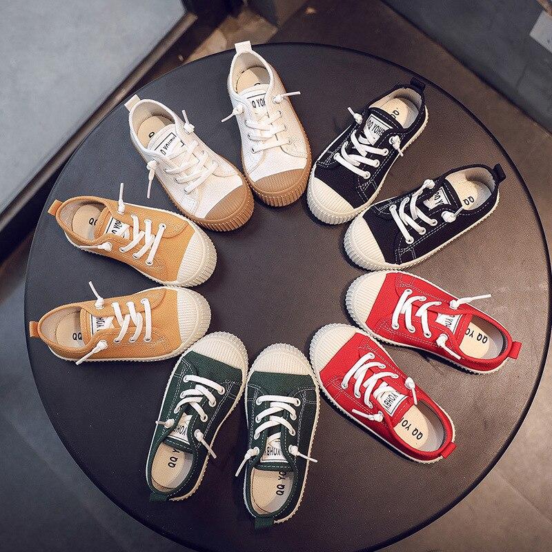 Unisex 2020 niño zapatilla de deporte Color caramelo niñas zapatos casuales Slip On banda elástica Sheos niños Falt zapatos de lona escuela C12131