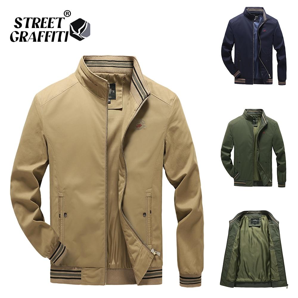 2021 Autumn Men's Jackets 100% Cotton Casual Solid Fashion Slim Bomber Golf Overcoat Baseball High Quality M-5XL Jacket Men