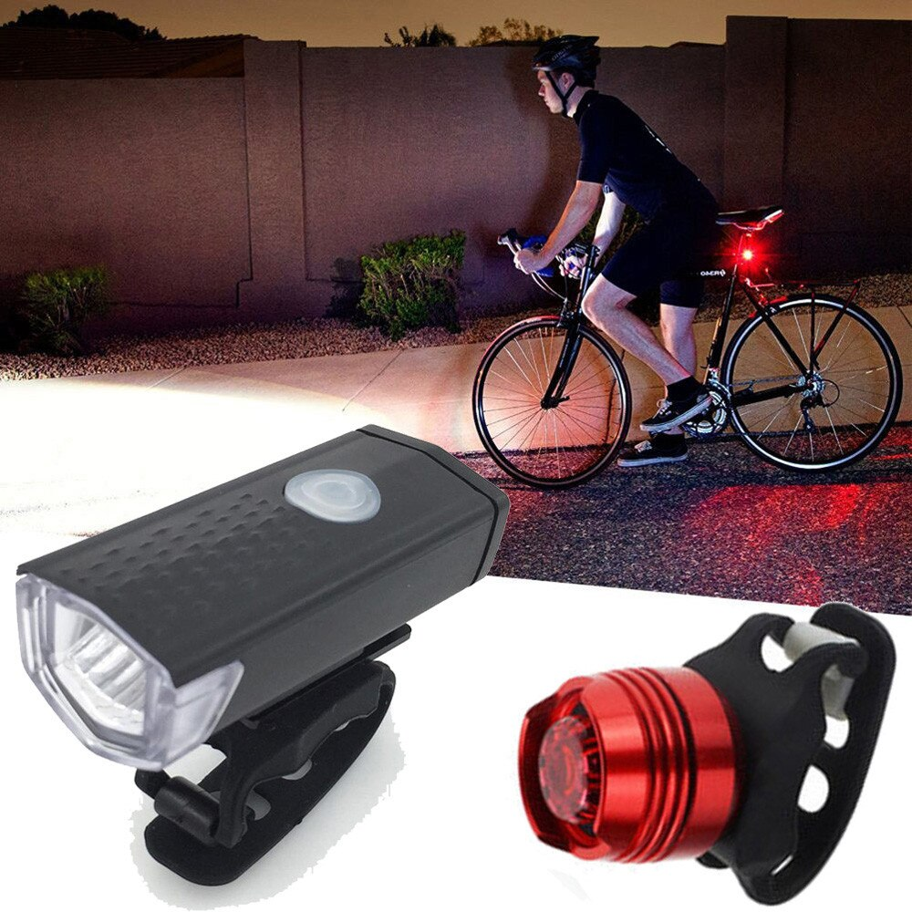 Luz Led superbrillante para bicicleta, faro y luz trasera recargable por USB,...