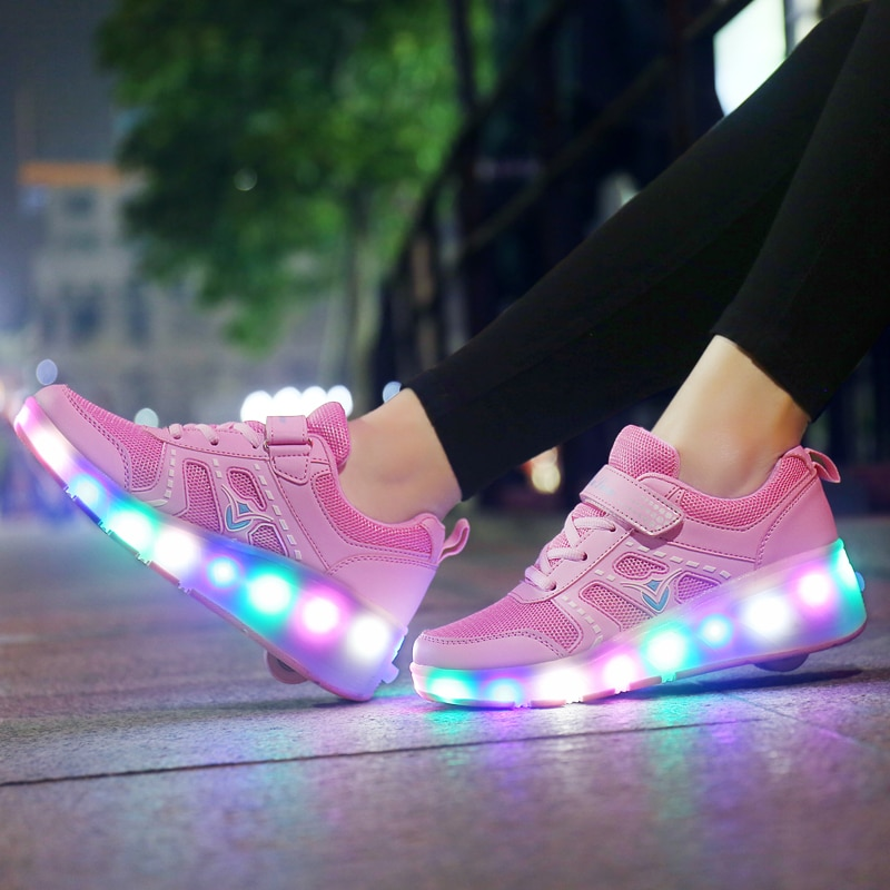 Zapatillas deportivas con ruedas pequeñas para niños, deportivas luminosas con ruedas, con...