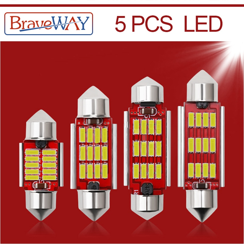 BraveWay 5PCS LED Bulb C5W C10W Super Bright 4014 SMD Canbus Error Free Auto Interior Doom Lamp Car Styling 31mm 36mm 39mm 41mm