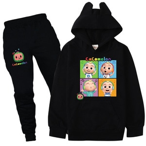Children Cocomelon Clothes Kids Cat Ear Anime Hoodie Boys Hooded Sweatshirts Pants 2pcs Set Baby Girl Outfits Children Tracksuit