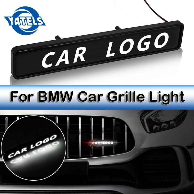 Parrilla ABS cromada emblema insignia LED de decoración coche con luces etiqueta engomada del logotipo para BMW M 1 3 4 5 6 7E Z X M3 M5 F34 G30 luces de la atmósfera