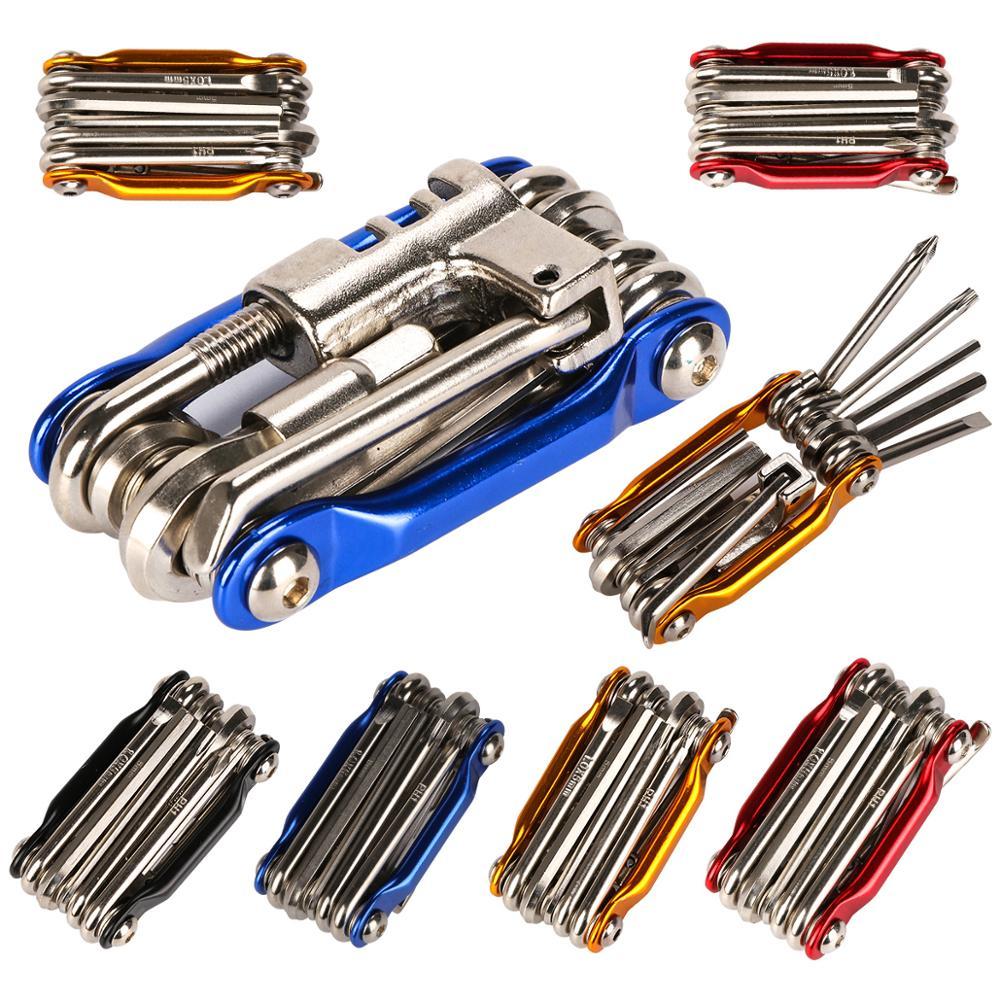 11 função ciclo multi ferramenta dobras plana bicicleta allen hex chaves chave de fenda ferramenta ligação corrente mtb estrada