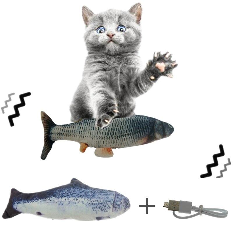 30 см, кошачья Игрушка Рыба Электрический usb-зарядник для зарядки моделирование Танцы прыгающая движущаяся флоппи-рыба кошка игрушка собака ...