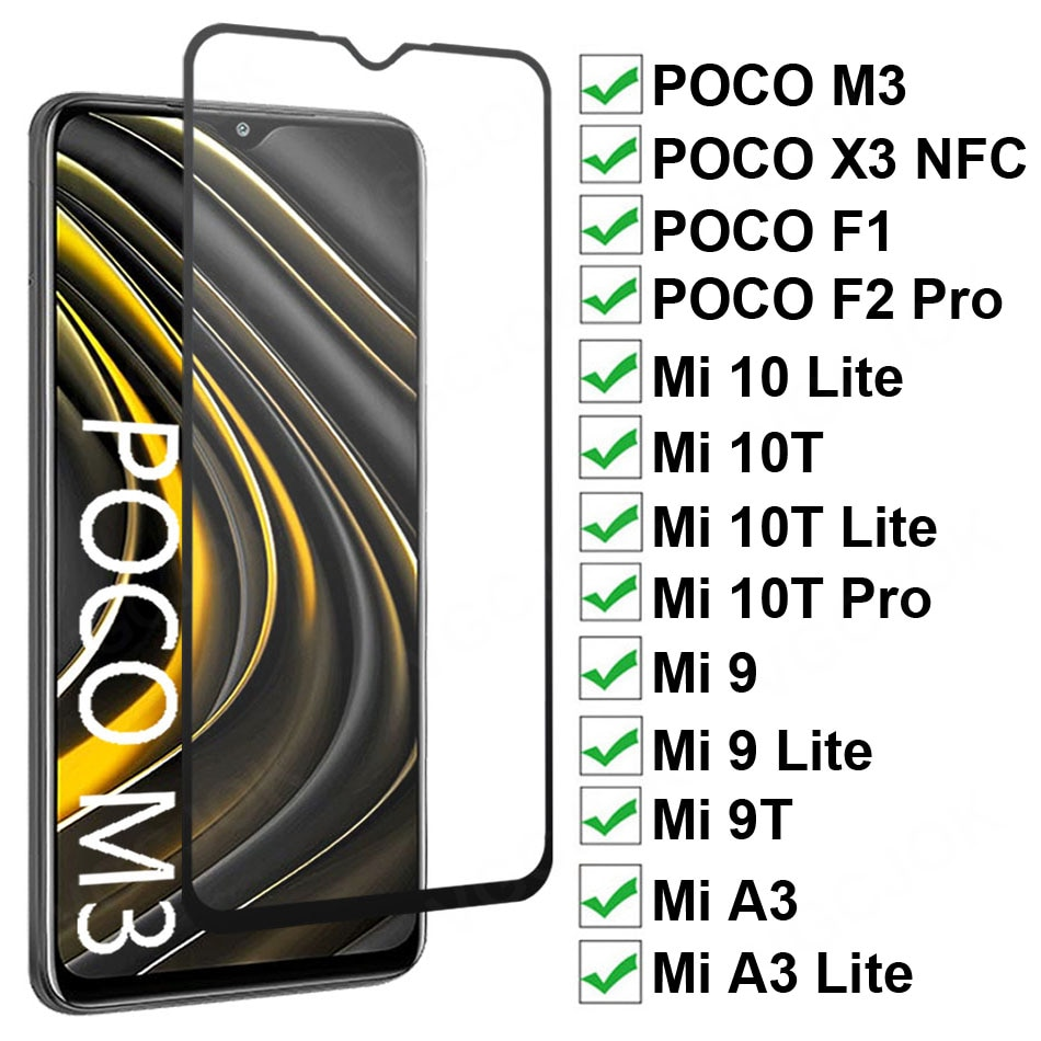 9D Protective Tempered Glass For Xiaomi POCO M3 X3 NFC F1 F2 Pro Screen Protector For Mi 9 10 Lite A3 9T 10T Pro Full Cover Film