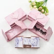 Boîte demballage de Faux cils en vison, en marbre rose, étiquette personnalisée, 25mm, meilleures ventes