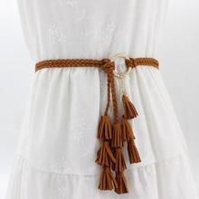 Fashion Women Solid Color Braided Tassel Belt 2021 New Boho Girls Thin Waist Rope Knit Belts For Dress Waistbands Accessories