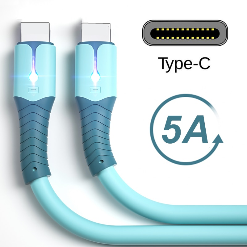 5A Super Fast Liquid Silicone Charge Cable Wire Data Cable for Samsung Huawei Xiaomi One Plus Chargi