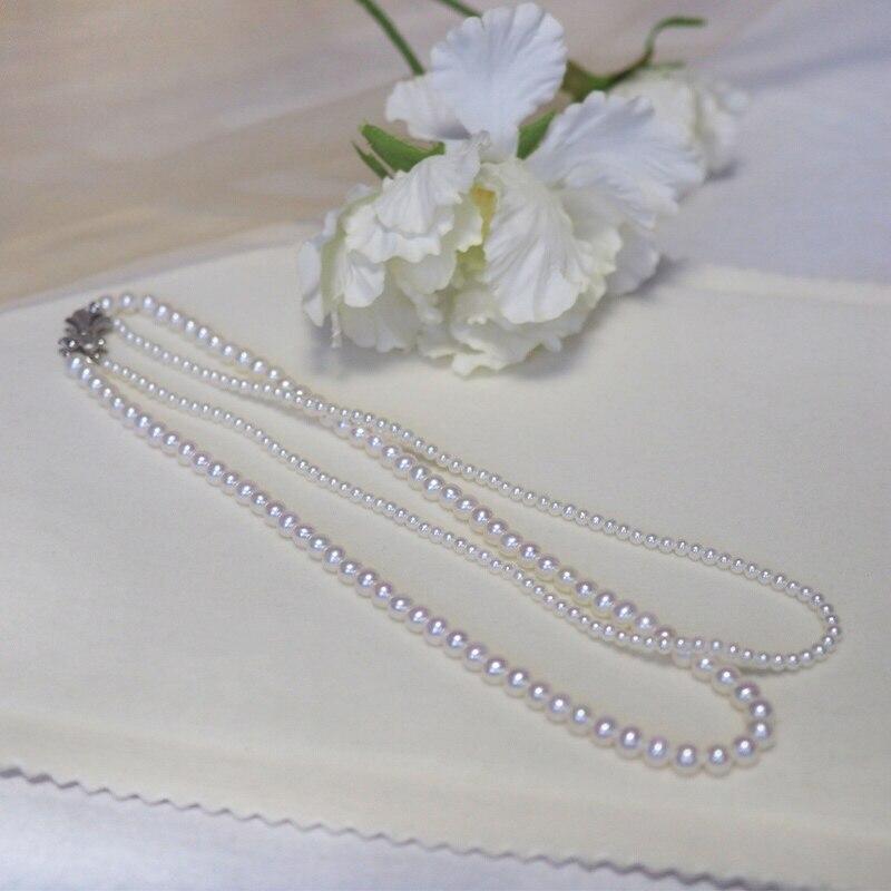 S925 الفضة مشبك K الأبيض مجوهرات (AU750) النساء المختنق مزدوجة قلادة توجيه سلسلة الطبيعي المياه العذبة اللؤلؤ أزياء سيدة