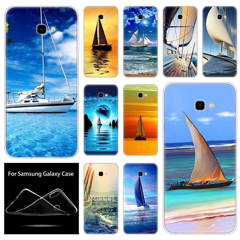 Funda de silicona suave Cool Sailing Boat para Samsung Galaxy J8 J6 J4 J2 Pro 2018 Core J6 J7 Prime J3 2016 J5 2017 cubierta de J4 Plus de la UE