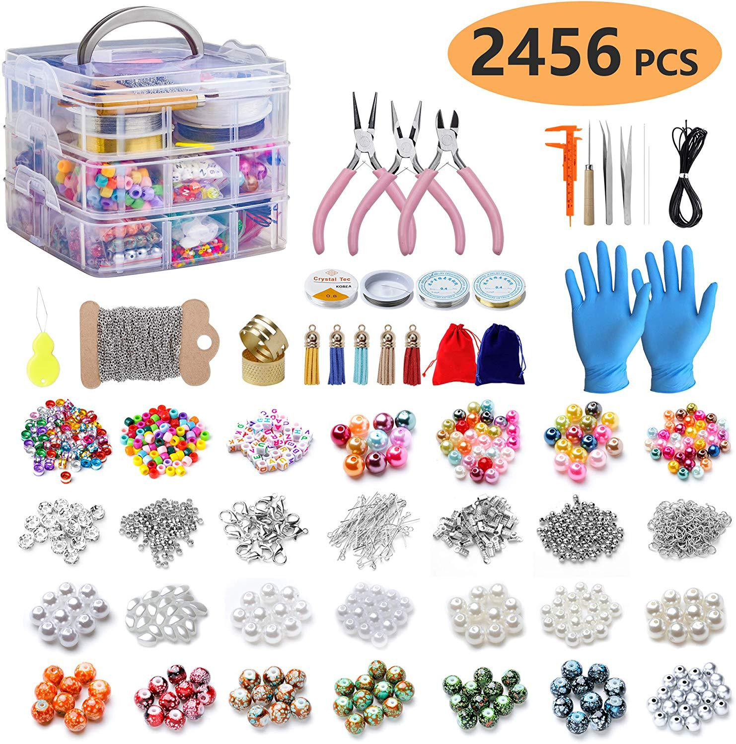 2456pcs Large Jewellery Making Starter Kit Findings Tools Clip Buckle Lobster Clasp Open Jump Rings