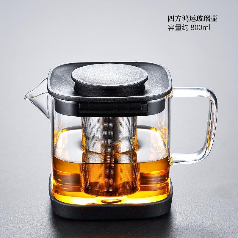 Tetera de té de Cristal con filtro, Tetera eléctrica china resistente al...