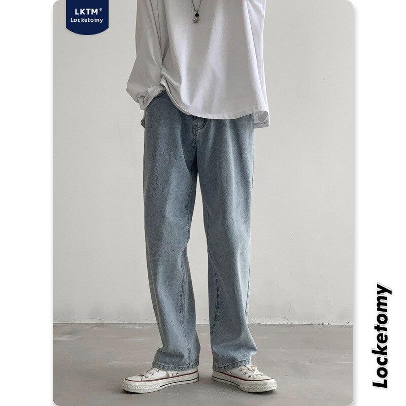 Новые модные мужские джинсы, новые светлые джинсы, свободные прямые широкие повседневные брюки с широкими штанинами, уличная одежда, мужски...