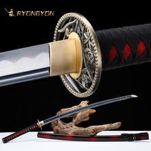 RYONGYON fait à la main Katana véritable épée forte véritable samouraï japonais épée japon Ninja 1095 acier pleine lame 502