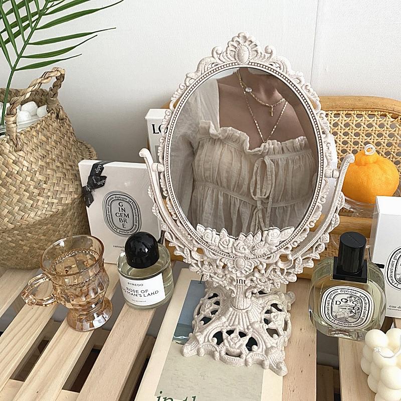 Cutelife الشمال الفضة البلاستيك خمر مرآة الزخرفية صغيرة مستديرة المكياج غرفة نوم مرآة Ins طاولة غرفة الدائمة مرآة زجاجية