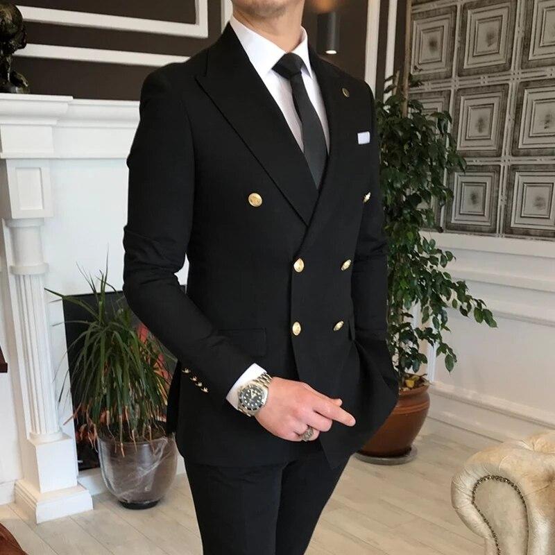 2021 وصل حديثا تصميم بدلات مزدوجة الصدر سوداء تناسب الرجال بدلة حفلة موسيقية بدلات رجال الأعمال زي أوم (سترة + بنطلون)